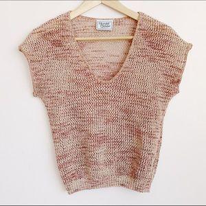 vintage muted pink short sleeve v-neck knit